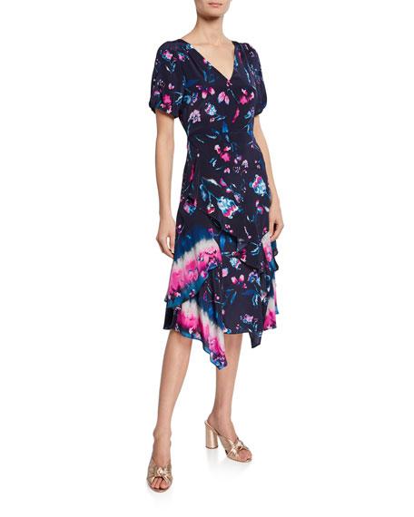 Tanya Taylor Estrella Floral Ruffle Short-Sleeve Dress