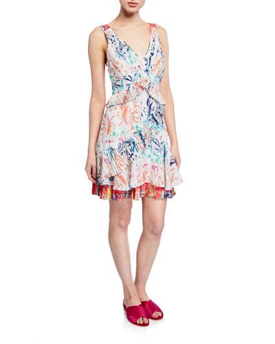 Eva Pleated Floral Sleeveless Flounce Dress