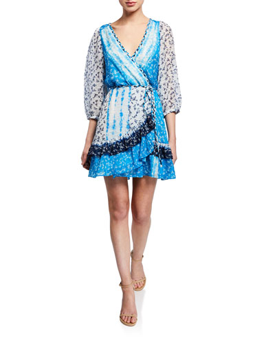 Patchwork Tie-Front Flounce Wrap Dress