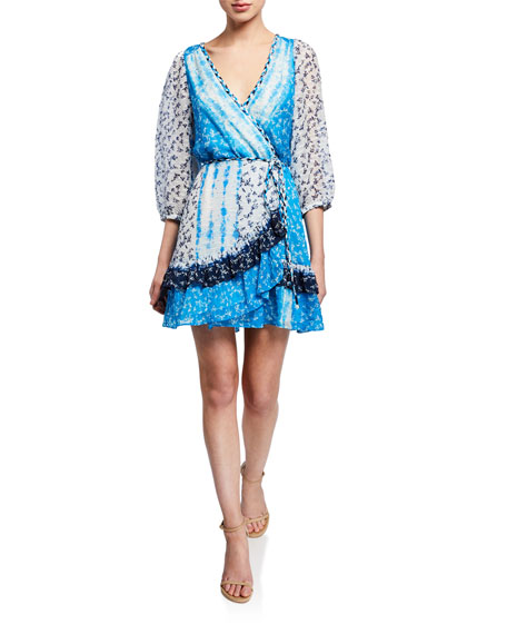 Tanya Taylor Patchwork Tie-Front Flounce Wrap Dress
