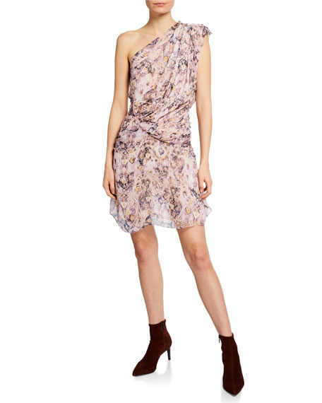 Iro Freesia Gathered One-Shoulder Silk Dress