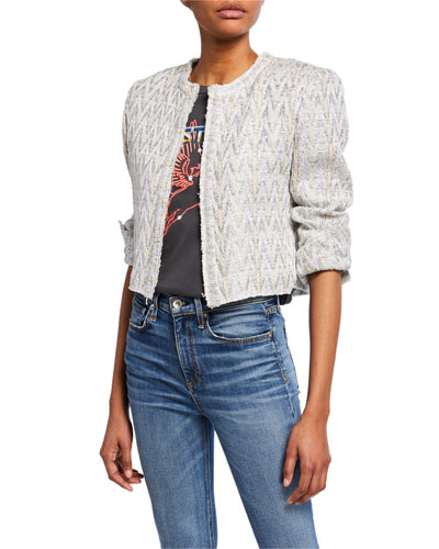 Makilo Cropped Metallic Tweed Jacket