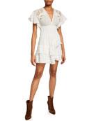 Iro Mapple Smocked Ruffle Short Dress