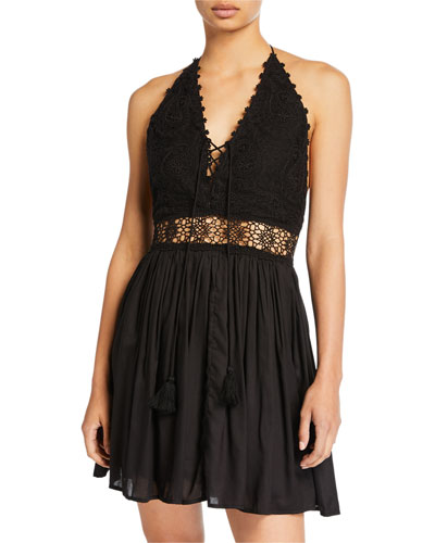 Valentina Lace Halter Coverup Dress