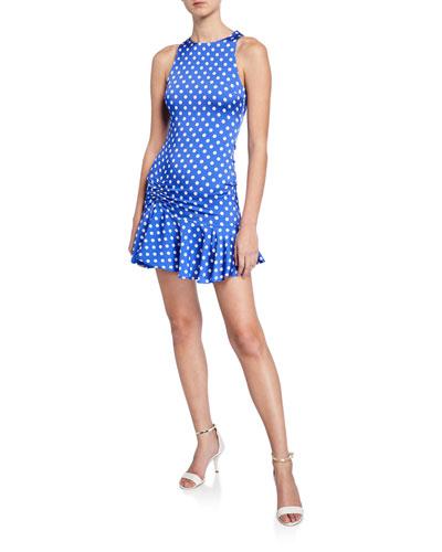Audrina Polka-Dot Sleeveless Mini Flounce Dress
