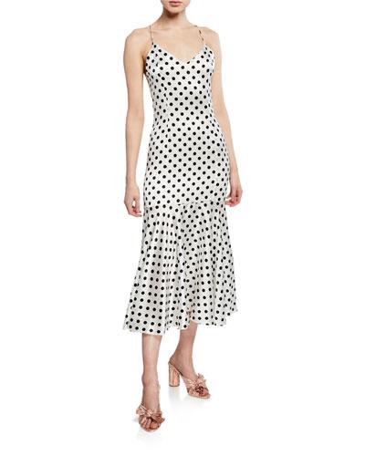 Kai Polka-Dot Spaghetti-Strap Drop-Waist Slip Dress