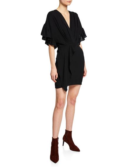 Iro Cedar Flutter-Sleeve V-Neck Cocktail Dress