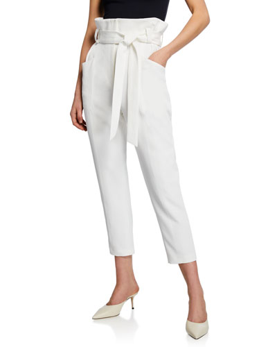 Perplex Belted Paper Bag Cropped Pants