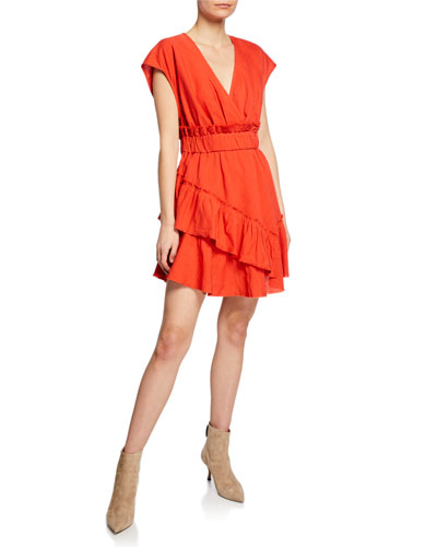 Billow V-Neck Ruffle Linen Short Dress