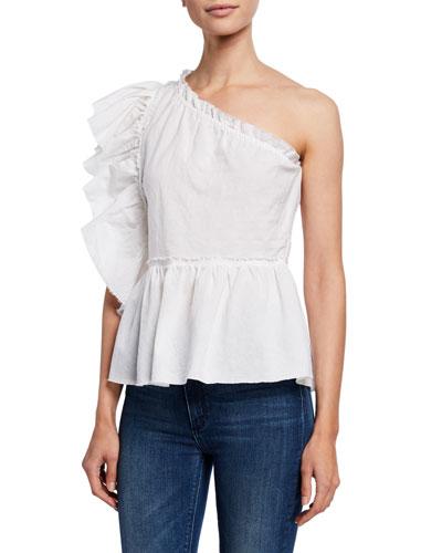 0fe049153e6458 White One-shoulder Top