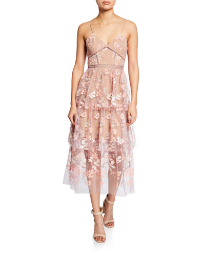 0ff3e78256f00 Quick Look. Self-Portrait · Floral-Embellished Tiered Midi Dress