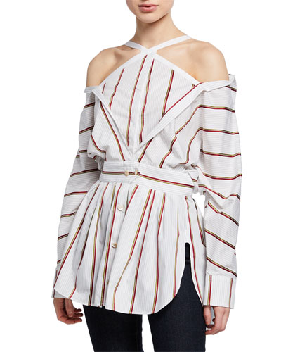 Victor Striped Cold-Shoulder Deconstructed Blouse