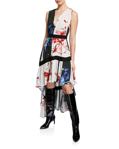 Super Printed High-Low Button-Front Asymmetrical Dress