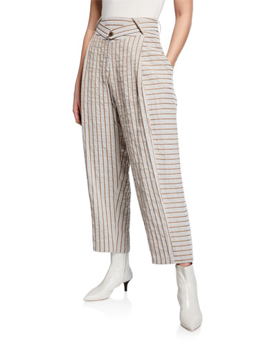 Pointed Striped High-Rise Trousers