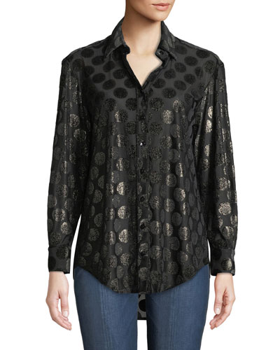 Monica Luxe Dot Button-Down Shirt