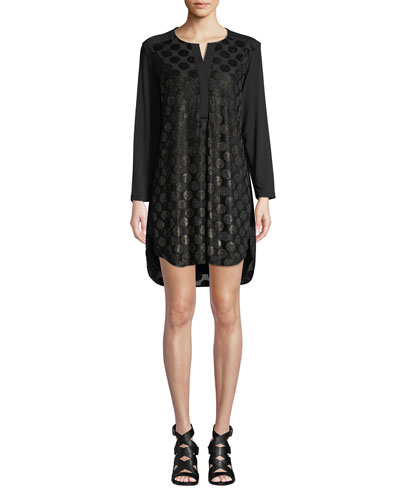 Kenzie Velvet Dot Long-Sleeve High-Low Dress