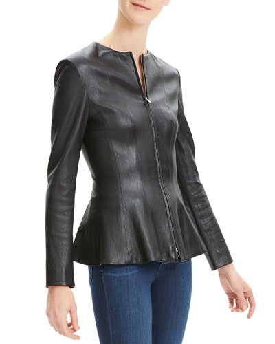 Movement Fitted Zip-Front Leather Peplum Jacket