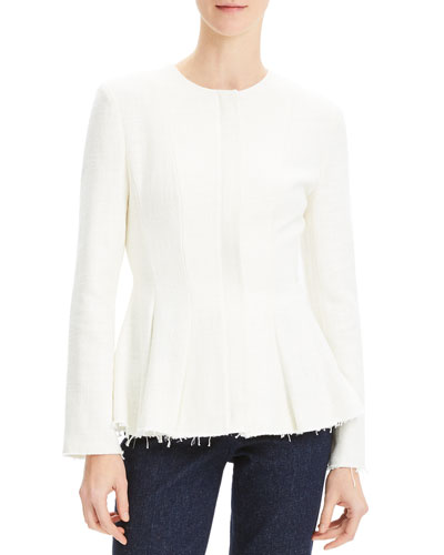 Movement Fitted Raw-Edge Peplum Jacket