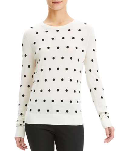 Dot Intarsia Wool Crewneck Pullover Sweater
