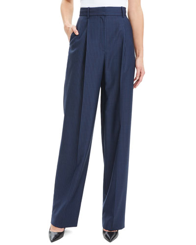 Striped Pleated High-Rise Straight Trousers