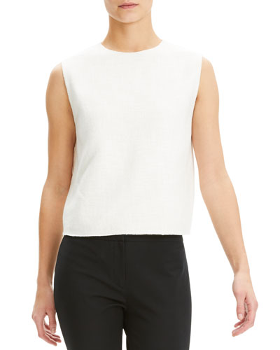 Cropped Sleeveless Linen-Blend Shell