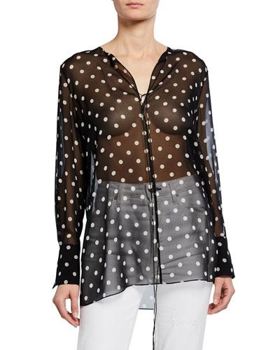 Fluid Dot-Print Silk Tunic