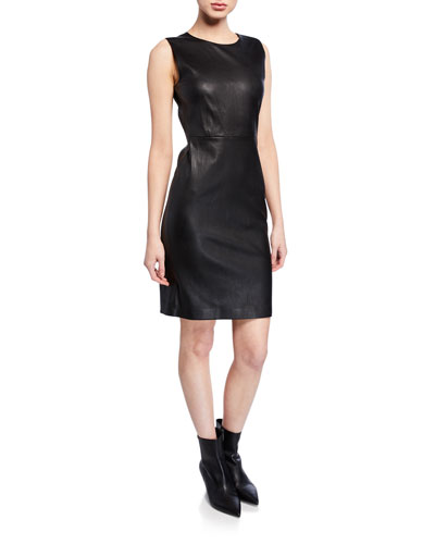 Fitted Leather Cocktail Dress