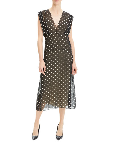 Deep V Dot-Print Sleeveless Silk Midi Dress