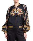 Camilla Blouson-Sleeve Silk Bomber Jacket