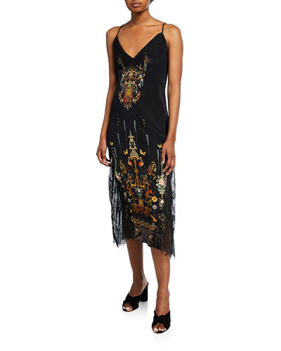 V-Neck Embroidered Lace Slip Dress with Lace-Up Back
