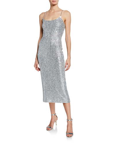 Sequin Scoop-Neck Sleeveless Statement Dress w/ Chain Detail