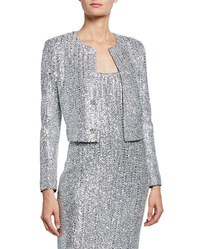 Sequin Open-Front Long-Sleeve Cropped Statement Jacket