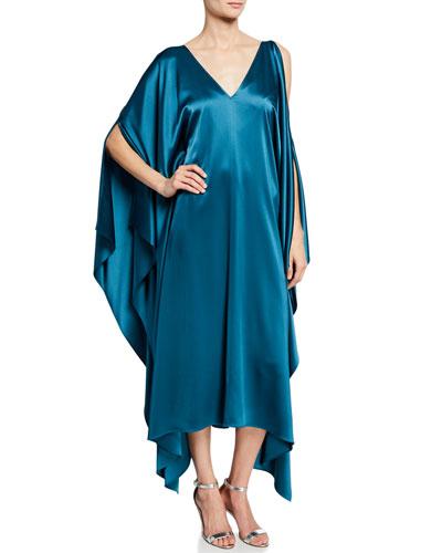 Liquid Satin Drape Asymmetric Dress