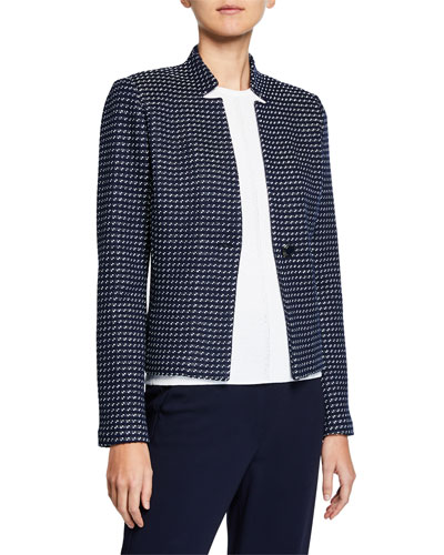 Dotted-Inlay Tweed Knit Jacket