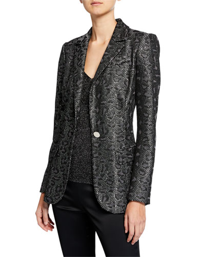 Jacquard Animal-Print Sequin Jacket