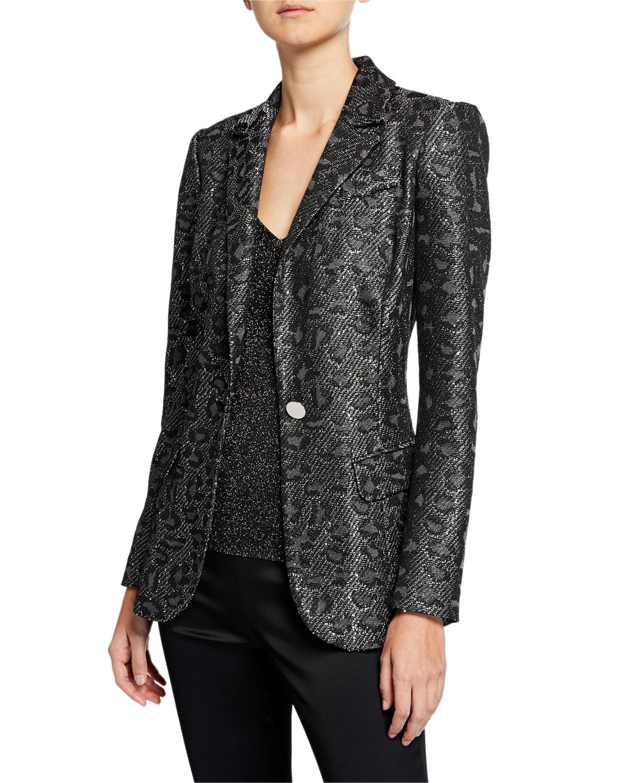 Jacquard Animal-Print Sequin Jacket
