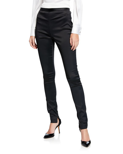 Satin Zip-Cuff Skinny Ankle Pants