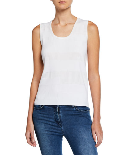 Patchwork Sleeveless Knit Shell Top