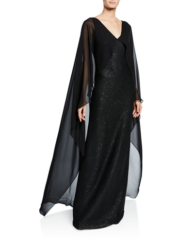 Column Sequined-Knit Silk Georgette Cape Gown