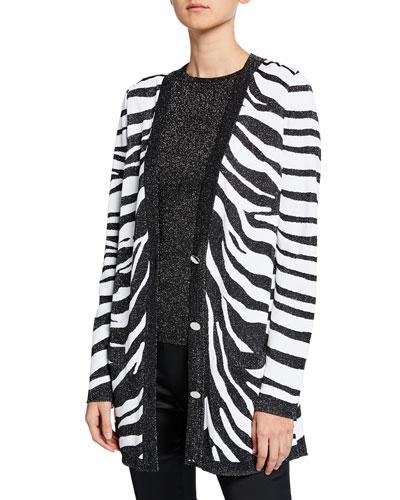 Zebra Jacquard Knit Cardigan