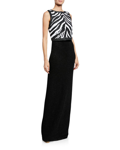 Zebra Jacquard Sequined Gown