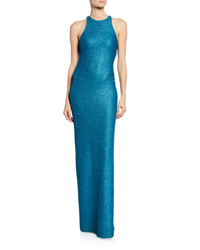 Luxe Sequin Knit Halter Gown