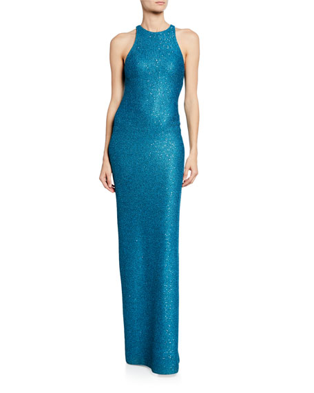 St. John Collection Luxe Sequin Knit Halter Gown