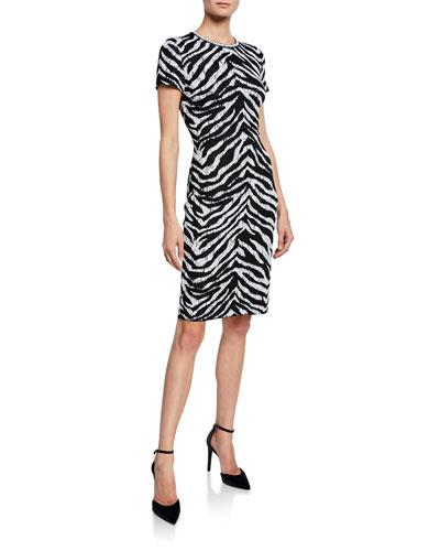 Zebra Jacquard Short-Sleeve Knit Dress
