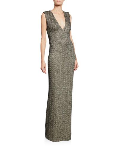 Shimmer Knit Column Gown w/ Crisscross Back