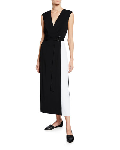 Cady Faux-Wrap Colorblock Dress w/ Self Belt