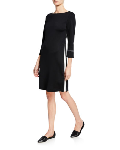 3/4-Sleeve Milano Knit Dress w/ Topstitch Details & Silk Side Panels