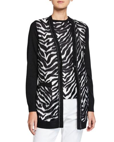 Zebra Chain-Trim Knit Cardigan w/ Tie Belt