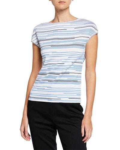 Stripe Knit Bateau-Neck Blouse
