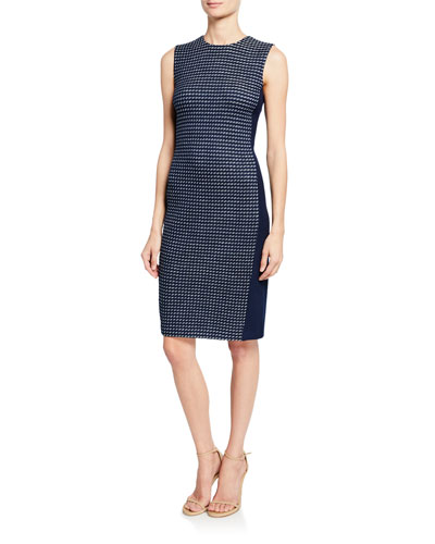 Dotted Tweed Knit Paneled Dress